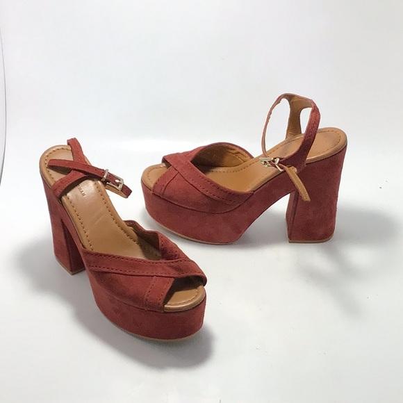 Zara Maroon Suede Platform Peep Toe Heels Size 37